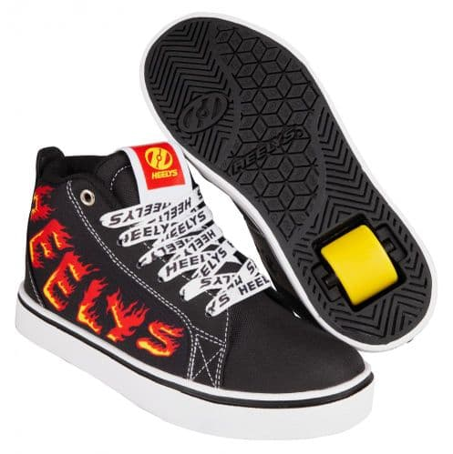 Heelys Racer 20 Mid Boys Wheels Skating Shoes Black/White/Red/Yellow Flame HE100903