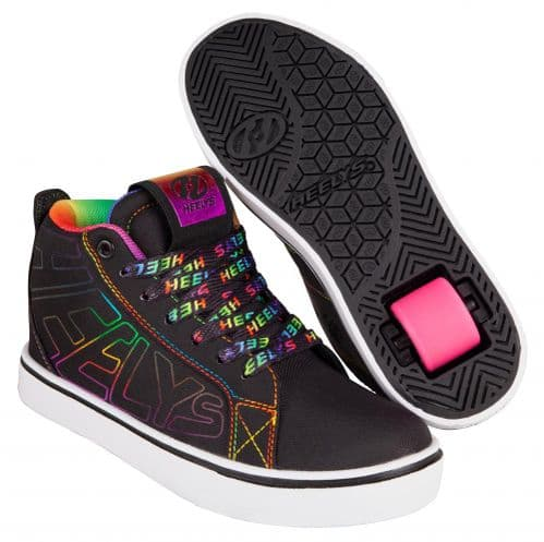 Heelys Racer 20 Mid Girls Wheels Skating Shoes Black/Rainbow HE100905
