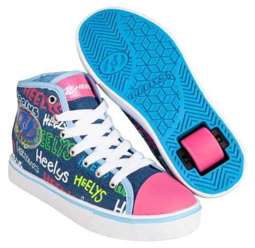 Heelys Veloz Girls Wheels Skating Shoes Blue/Denim/Multi Logo HE100908