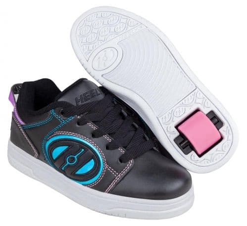 Heelys Voyager Girls HX1 Wheel Skating Shoes Black/Pink/Rainbow Foil HE100604