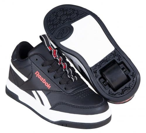 Heelys x  Reebok Court Low Kids  Boys Wheel Skating Trainer Shoes Core Black HES10371
