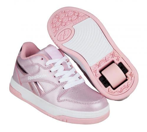 Heelys X Reebok Low BB4500 Girls Wheels Skating Shoes White/Classic Pink/ Sparkle HES10370