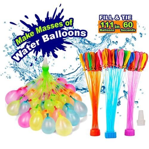 Kingdom GB 111 Assorted Multi Colours Quality Water Balloons Bomb Bundle 3 Bunches Rapid Quick Fill