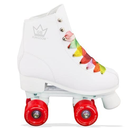 Kingdom GB Figure Quad Wheels Roller Skates White (Red Wheels)