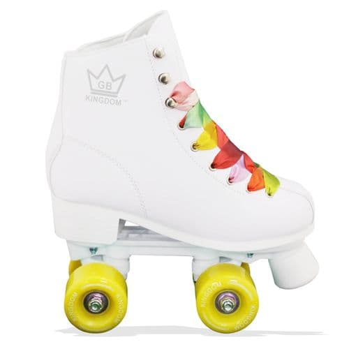 Kingdom GB Figure Quad Wheels Roller Skates White (Yellow Wheels)