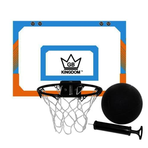 Kingdom GB Hyperdunk Portable Over The Door Mini Basketball Hoop Set With Ball & Pump - Orange Blue