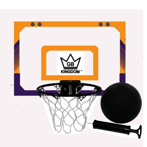 Kingdom GB Hyperdunk Portable Over The Door Mini Basketball Hoop Set With Ball & Pump Purple Yellow