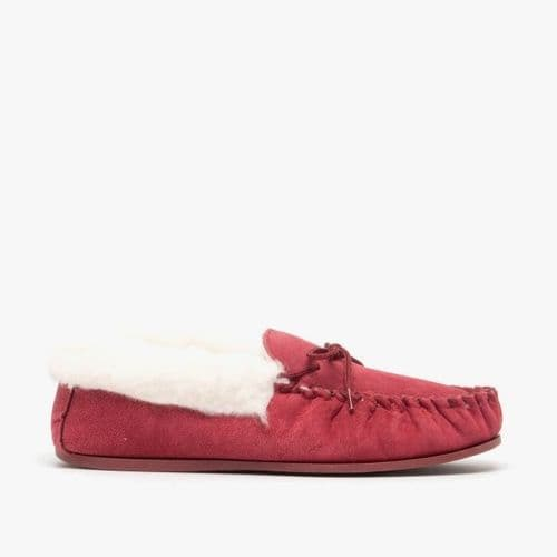 Mokkers Emily Ladies Suede Moccasin Flur Slippers Womens Crimson Red