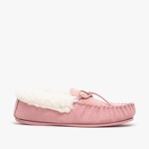 Mokkers Emily Ladies Suede Moccasin Flur Slippers Womens Pink