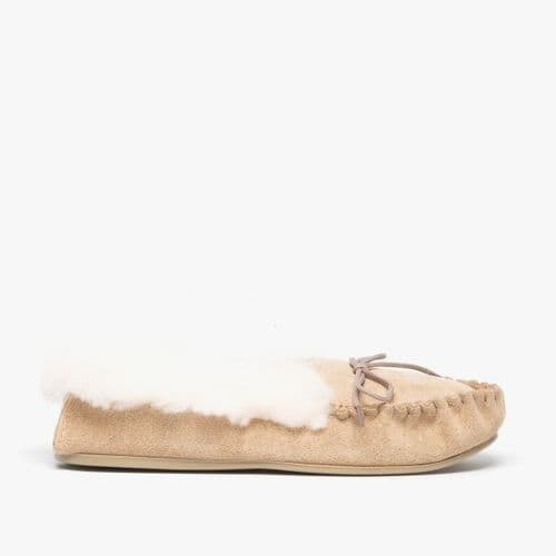Mokkers Kirsty Ladies Suede Moccasin Slippers Womens Taupe