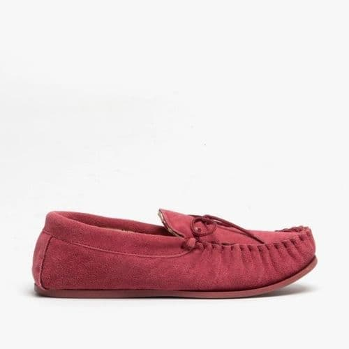 Mokkers Lily Ladies Suede Moccasin Slippers Womens Crimson Red