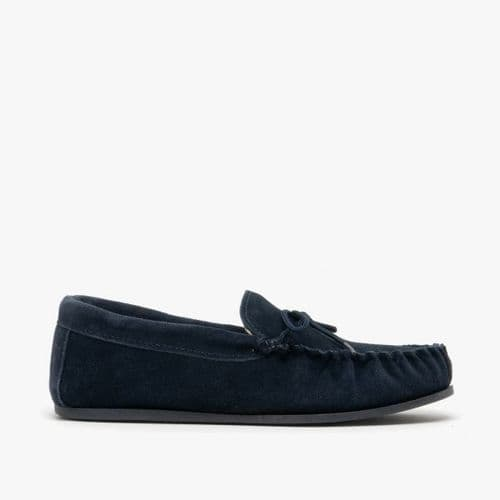 Mokkers Lily Ladies Suede Moccasin Slippers Womens Navy