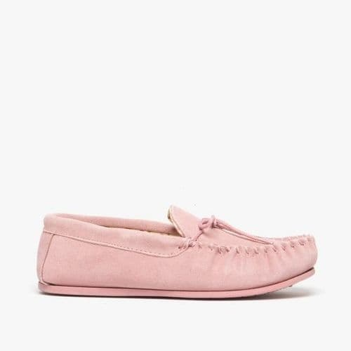 Mokkers Lily Ladies Suede Moccasin Slippers Womens Pink