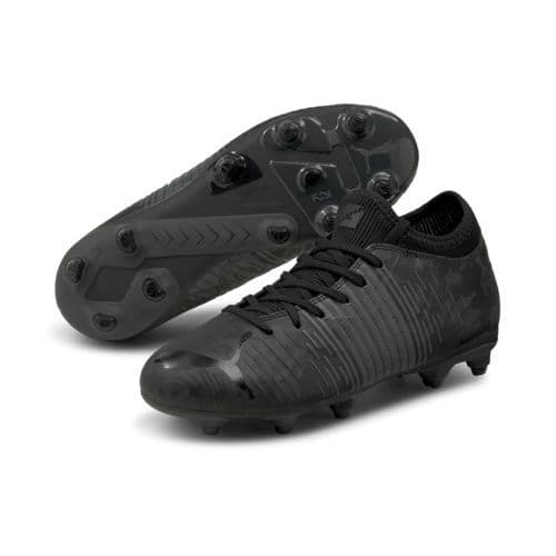 Official Puma Future Z 4.1 Junior Kids Football FG/AG Boots Black/Asphalt