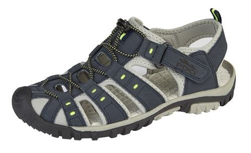 PDQ Toggle Touch Fasten Boys & Mens Sports Trail Sandals Navy Lime