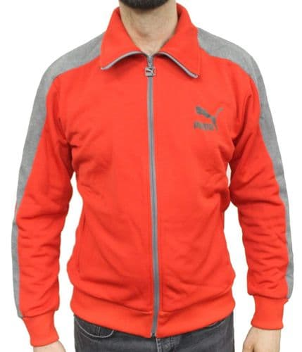 Puma Eagle Point Mens Sports Poly Full Zip Track Jacket - Red/Grey