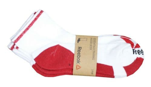 Reebok Essentials Training Sports Ankle Socks White red 3 Pair Pack