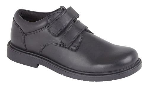 Roamers Charles Touch Fasten Kids Boys Back To School Leather Shoes Black