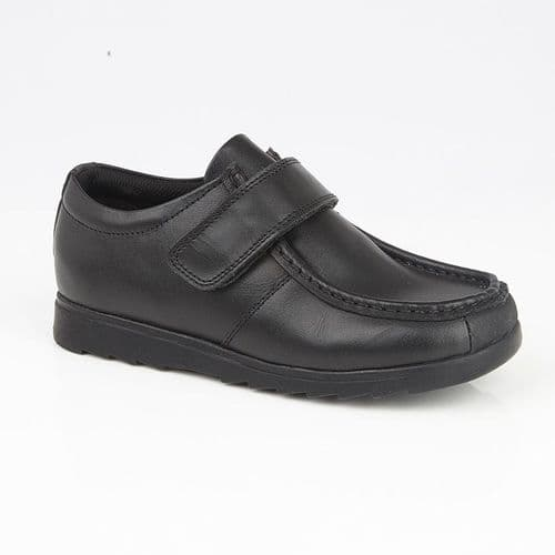 Roamers Generals Leather Touch Fasten Kids Junior Boys Back to School Shoes Black