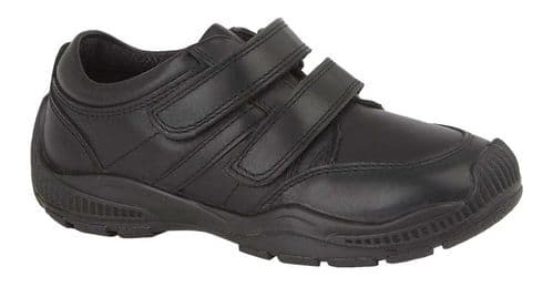 Roamers Jerome Leather Touch Fasten Kids Boys Shoes Black