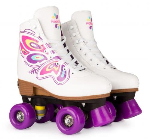 Rookie Butterfly  Kids Adults Adjustable Size Quad Roller skates White