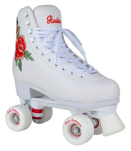 Rookie Rosa Embroidered Flower Girls Womens Quad Wheels Roller Skates
