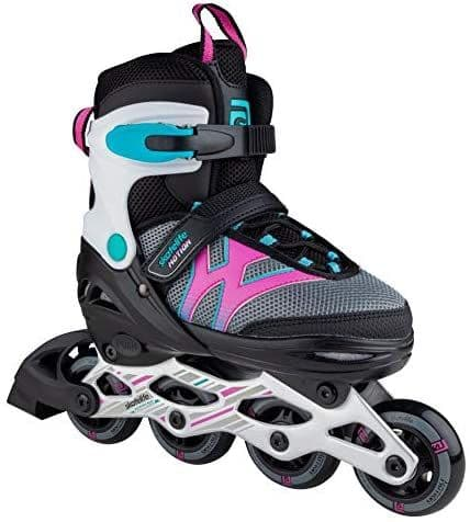 Skatelife Motion Childrens Junior Kids Adjustable Inline Roller Skates Black Pink