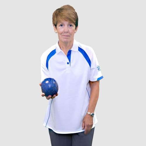 Taylor Bowls Ace XV1 Womens Polo Tee Shirt Blue Trim
