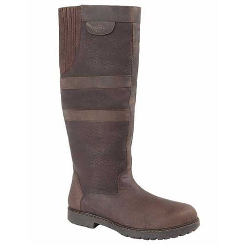 Woodland Hailey Womens Equestrian Country Boots Dark Brown Waxy Leather