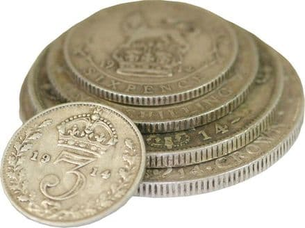 1914 Silver 5 Coin halfcrown down to 3d set