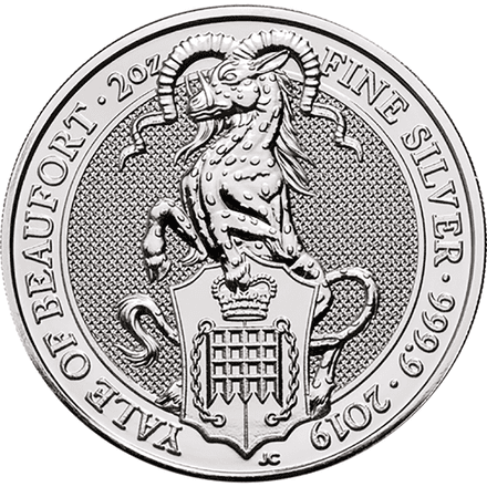 2019 Yale of Beaufort 2oz Silver Coin-Queens Beast Series