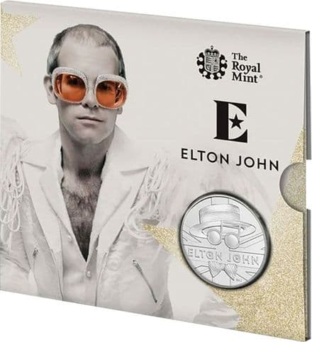 2020 Elton John Brilliant Uncirculated £5 Folder-Music legend Series