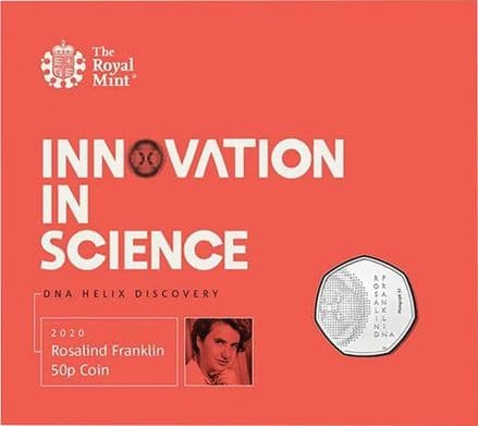 2020 Rosalind Franklin Brilliant Uncirculated 50p folder