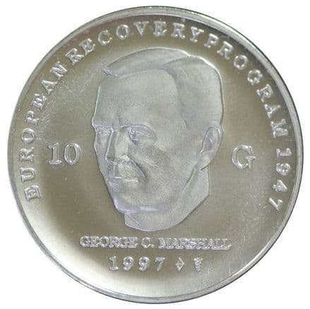 Commemorative Silver 10 Guilden for George Marshall
