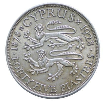 Cyprus 45 silver Piastres 1928