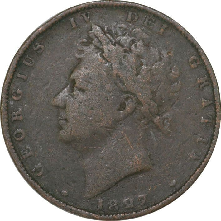 King George IV Copper Farthing 1825-30 2nd Issue VF Condition
