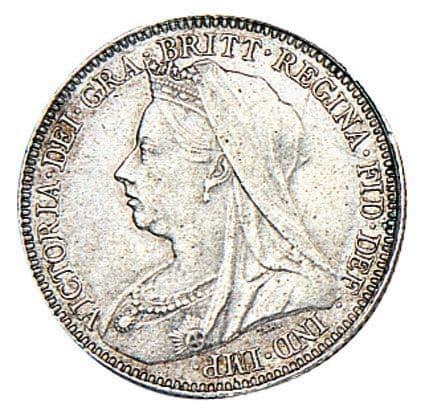 Victoria Old Head Silver Sixpence 1893-1901