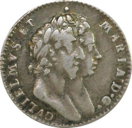 William & Mary Silver Threepence 1689 -1694 In F/VF Condition