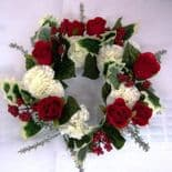 Approx 11 Inch Artificial  Red Velvet Roses & Cream Carnations Christmas Wreaths