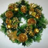 Artificial  Holly & Pine Cones, Gold Poinsettas, Wreath