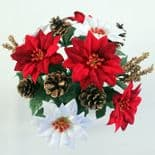 Artificial Red And White Poinsettia
