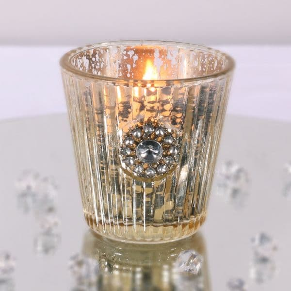 Embellished Gold Glass Candle Holder 7.5cm