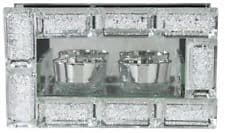 Mirror Crystal Block Double Tea Light Holder