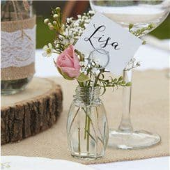 Rustic Country Glass Place Card Holders - 11cm pack of 4