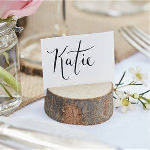 Rustic Country Mini Wooden Log Place Card Holders set of 5 - 5cm
