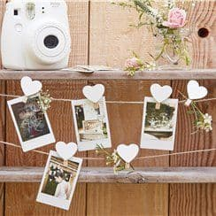 Rustic Country Wooden Heart & String Card Hanging Kit - 5m