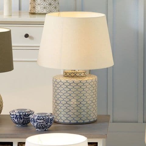 Blue Geometric Pattern Design Ceramic Table Lamp MP30-424-K