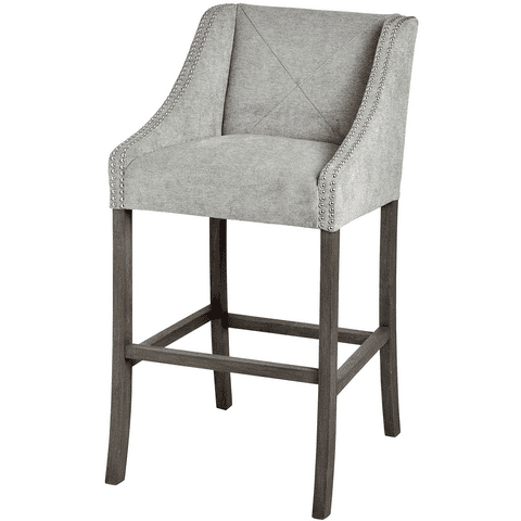 Busta Silver Grey Upholstered Bar Stool With Ring Pull Handle MH18335