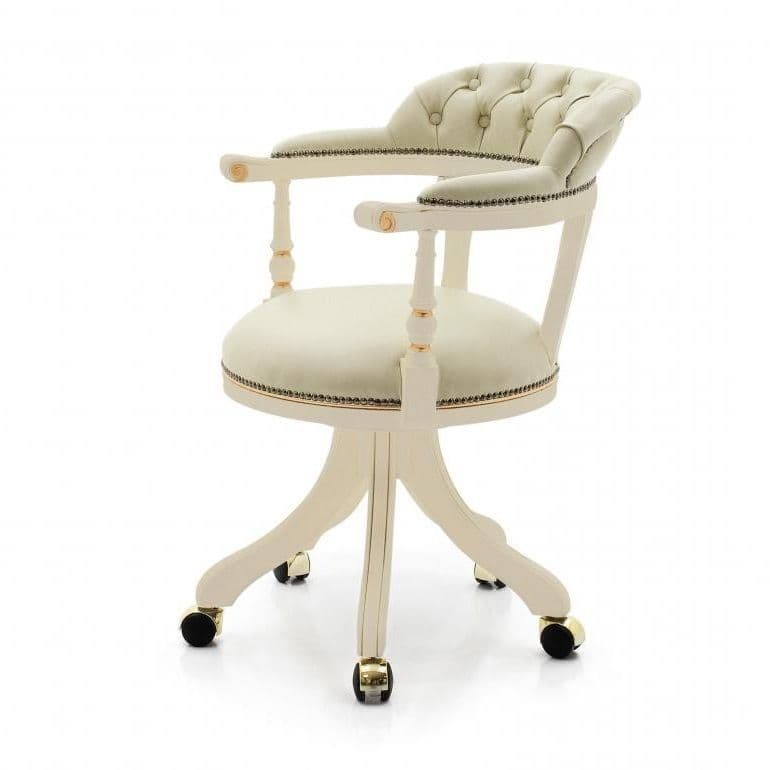Capitani Bespoke Upholstered Desk Chair MS0153P Made-To-Order wood desk chairs for desks swivel chairs for office