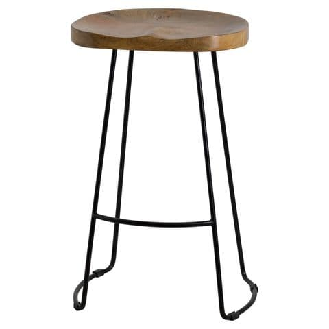 Curved Hardwood Seat Bar Stool With Metal Frame Legs MH19924